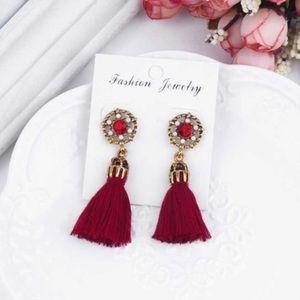 Red Jeweled Tassel Earrings